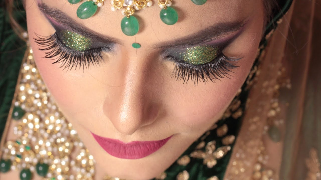 Bridal Makeup Tutorial Step By Step Green Glitter Eyes Youtube