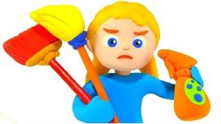 SUPERHERO BABIES  CLEAN & TIDY UP ❤ Superhero Babies Play Doh Cartoons For Kids