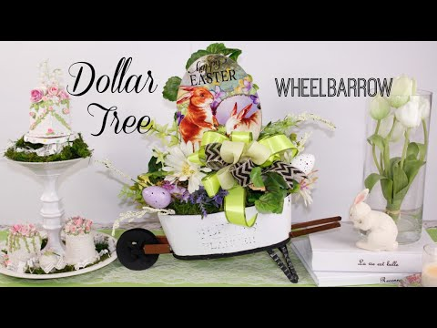DOLLAR TREE WHEELBARROW DIY GARDEN PLANTER DECOR