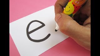 "How to turn Letter ""e"" into a Cartoon ELEPHANT ! Learn drawing art on paper for kids"