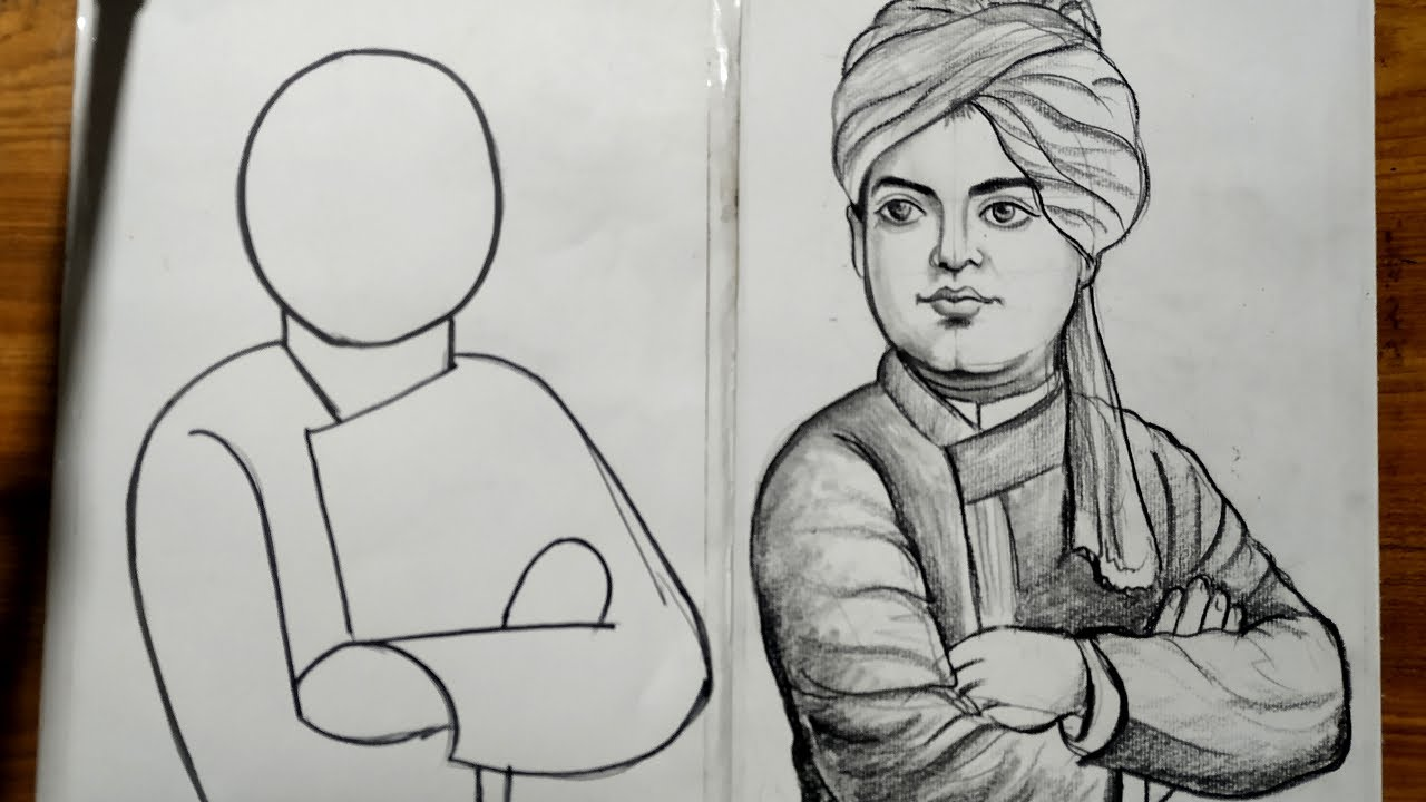 swami vivekananda drawing for beginners and kids,very easy ...