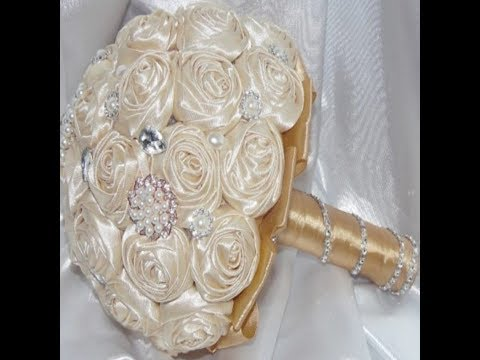 #1 DIY How to make Your Own Bridal Bouquet Brooch Fabric Flowers  No Wires Easy