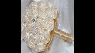 #1 DIY How to make Your Own Brooch Bridal Bouquet Fabric Flowers  No Wires Easy