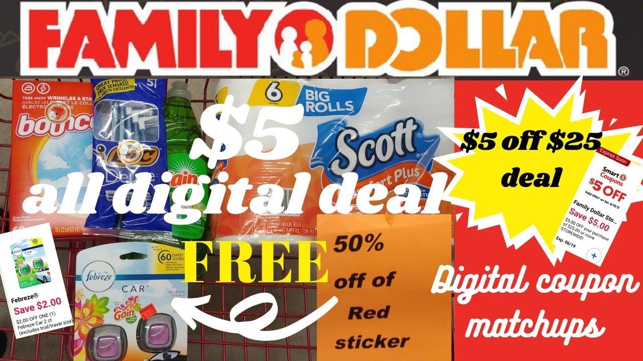 Family Dollar Coupon Deal you can do now | Coupon digital matchups & a $5 off $25 scenario