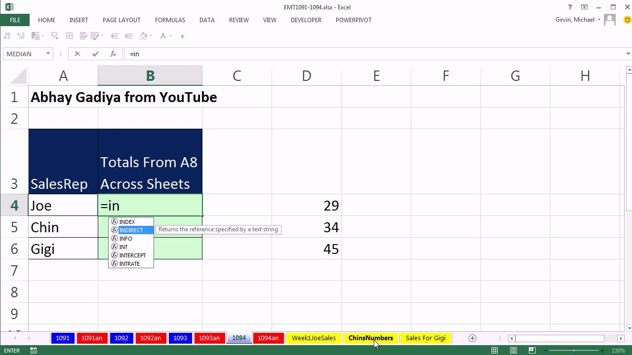 Excel Magic Trick 1094: Wildcards for Sheet References and INDIRECT ...