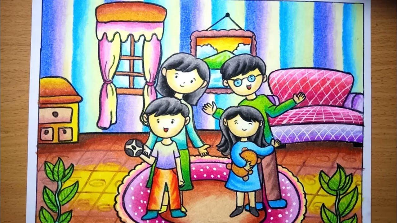 Cara Menggambar Dan Mewarnai Tema Aku Dan Keluargaku Dengan Gradasi