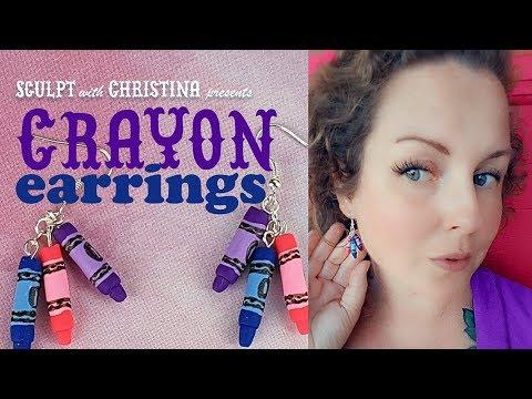 Orange Crayon Earrings,Crayon Earrings,Back to School Earrings,Polymer Clay,Teacher Earrings,Gift Earrings,Artist Earrings,Crayon Jewelry