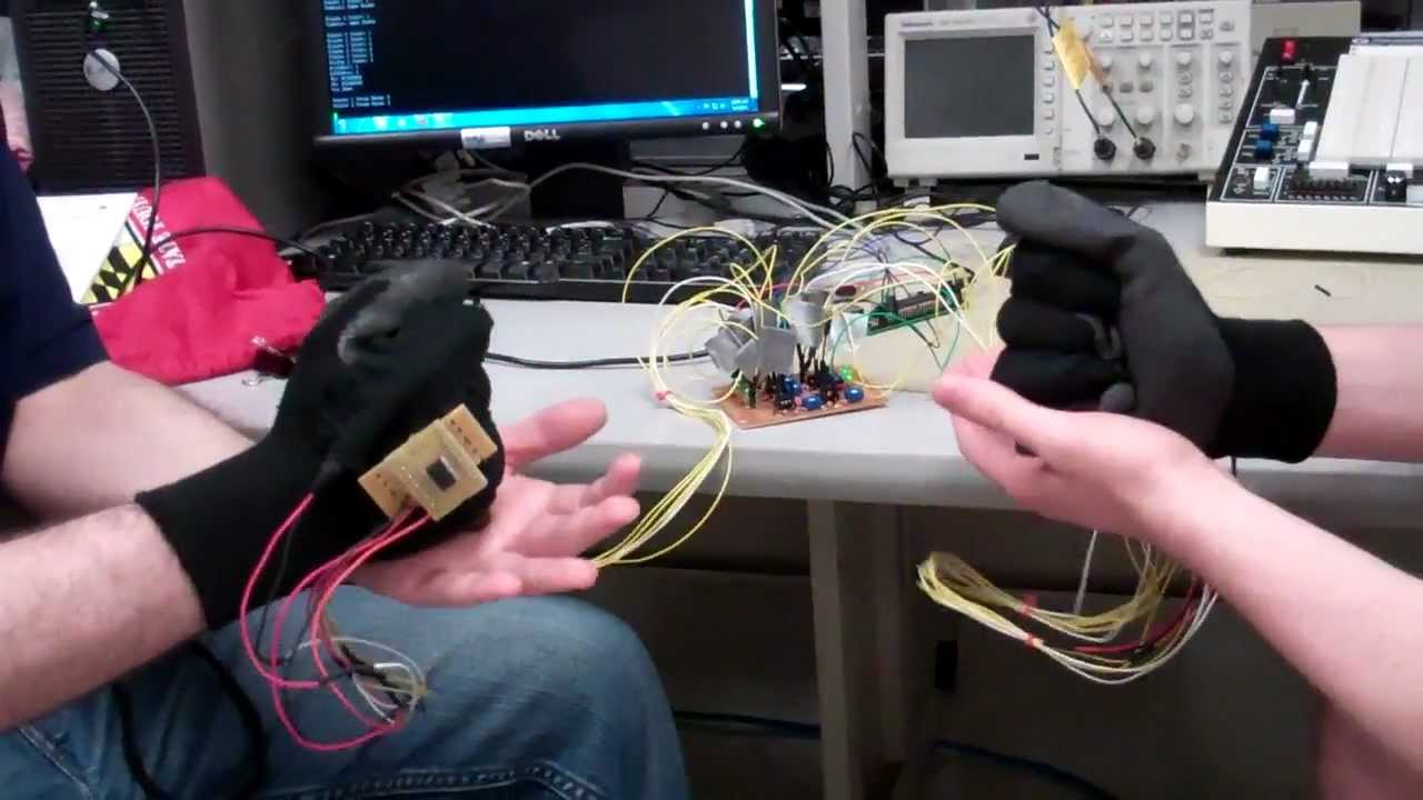 Home made flex sensor glove.