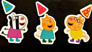 Свинка Пеппа День Рождения собираем магнитные пазлы для детей с героями мультика свинка пеппа