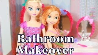 Frozen Elsa Anna Bathroom Makeover with Barbie Sisters Beauty Fun Sink AllToyCollector