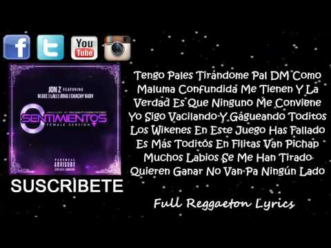 0 SENTIMIENTOS - Jon Z Ft Joha, M. Gree, Lali Y Chachy Baby (FEMALE VERSION) (LETRA)