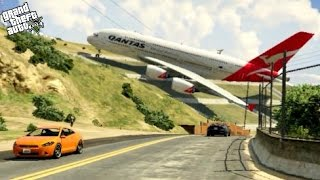 GTA 5✦Massive Air Plane A380✦Emergency Landing on Strange Place at Mountain (Funny Moments)