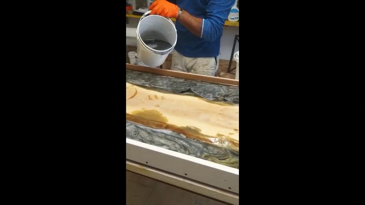 Top Cucina In Resina resina epossidica colata ad alto spessore e legno top cucina - kemiepox  #poolkemie