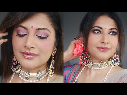 INDIAN SPRING-SUMMER DAY WEDDING GUEST MAKEUP TUTORIAL | SOFT PINK NATURAL GLAM    BOLLYWOOD