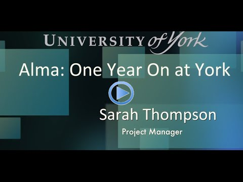 Resource management and acquisitions with Alma One Year on @ York
