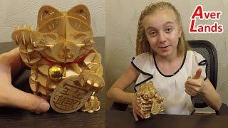 Собираем 3D Puzzle Кот удачи Манэки Нэко из дерева 招き猫
