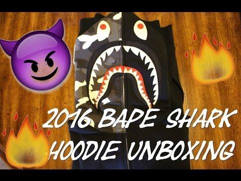 """2016 Bape Shark Hoodie """"Glow in the Dark"""" Unboxing (A Bathing Ape)"""