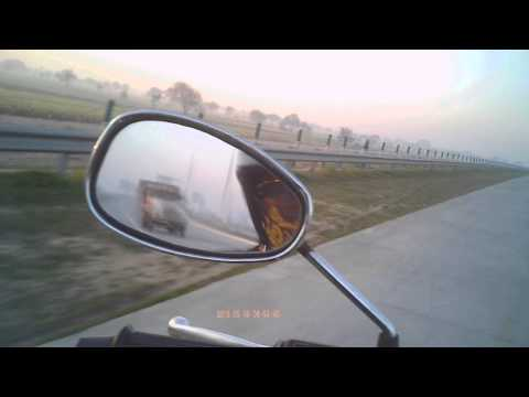Speedy bike ride at Yamuna Express Way Delhi to Agar Highway parallel to National Highway NH-2 India