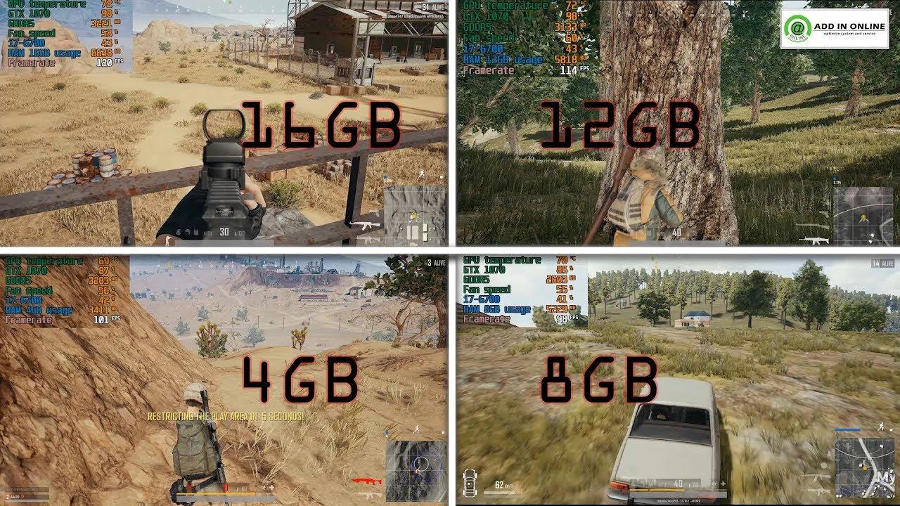 PUBG  RAM Test 4GB/ 8GB/ 12GB/ 16GB จัดสเปกเล่นเกม แรมขั้นต่ำเท่าไหร่เล่นได้ลื่น