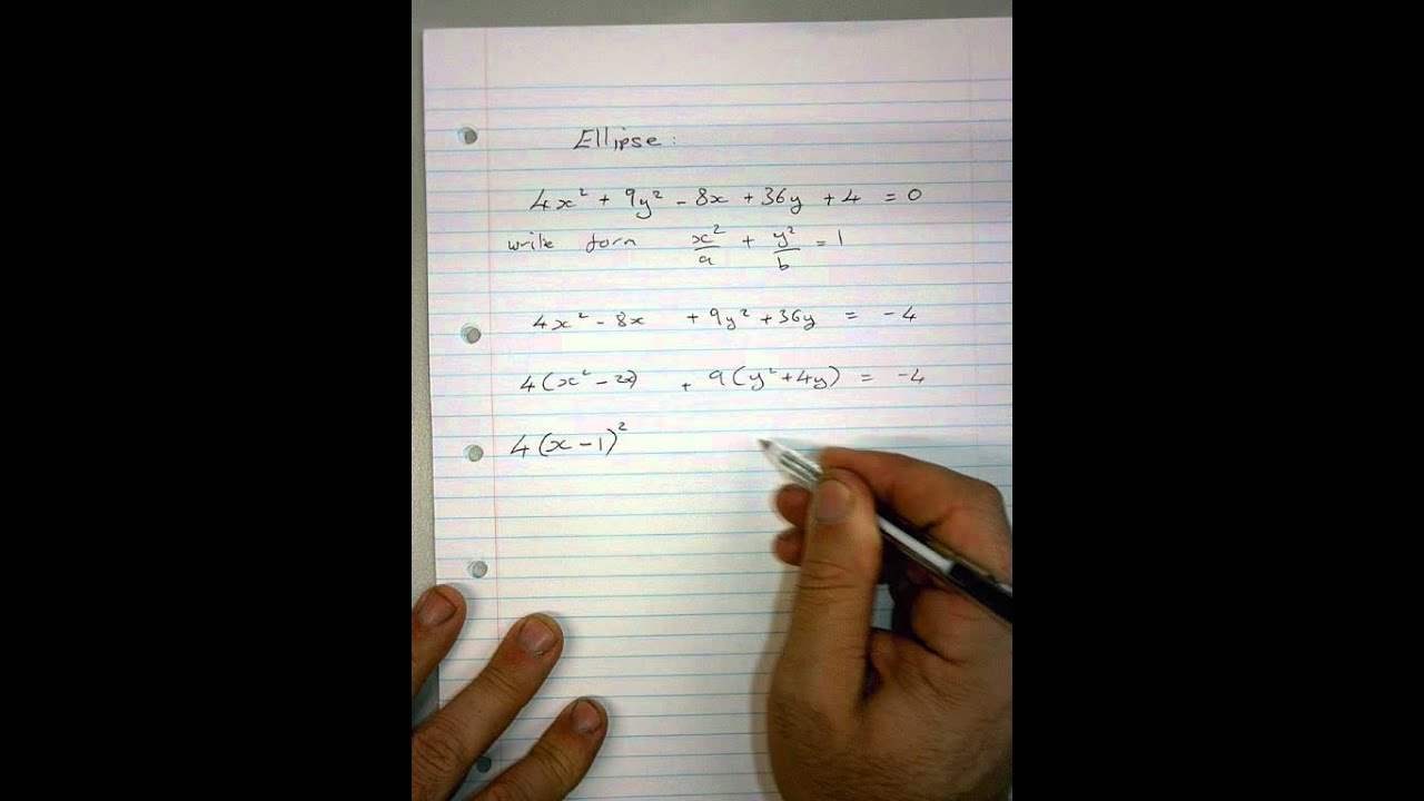 Equation Of An Ellipse Usingpleting The Square