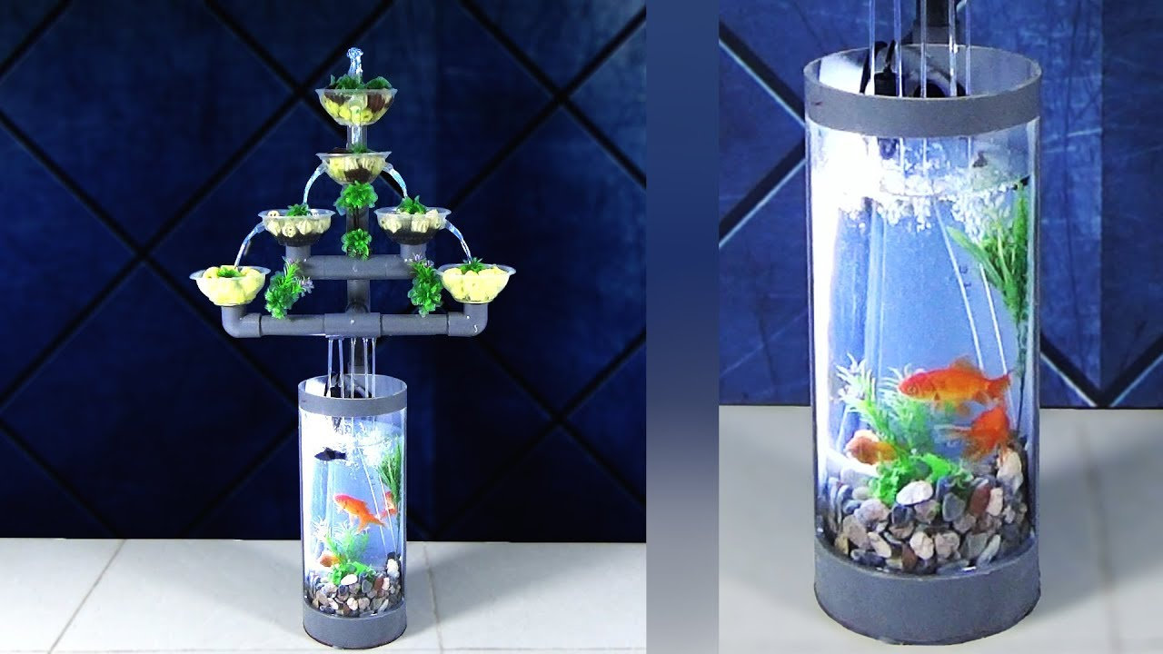 How To Make Beautiful Aquarium Fountain Using Pvc Pipes Youtube