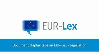 Document display tabs on EUR-Lex - Legislation