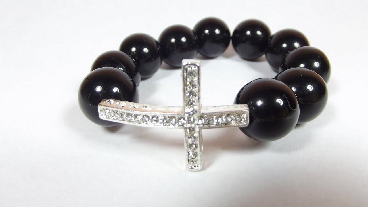 Diy Beaded Sideways Cross Bracelet