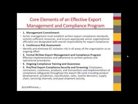 7 Managing an Export Controls Compliance Program