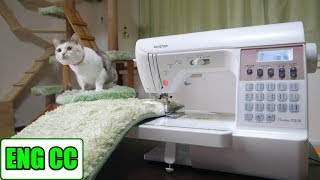 DIY Cat Walk on the Cat Room Wall, Part 5. Making Special Mat with New Sewing Machine【Eng CC】