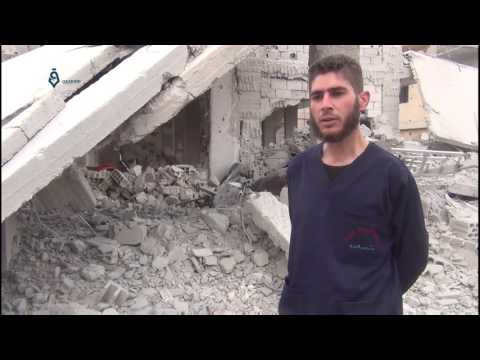 Damascus suburbs- al Nashabiya: destruction of medical point in Syrian regime shelling P1, 27 2 2017