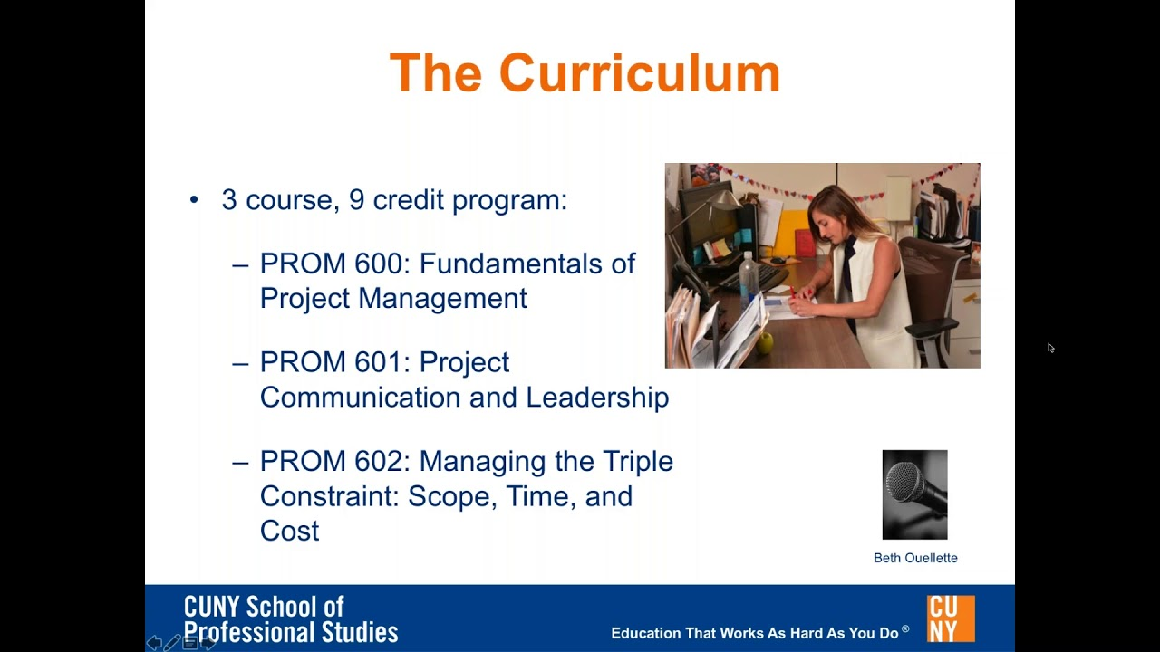 Online Advanced Certificate In Project Management At Cuny Sps Youtube