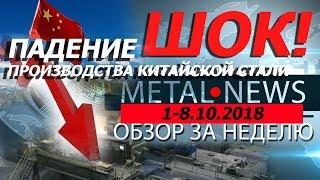 ШОК! ПАДЕНИЕ ПРОИЗВОДСТВА КИТАЙСКОЙ СТАЛИ | MetalNews.ОБЗОР ЗА НЕДЕЛЮ 1-10.10.18