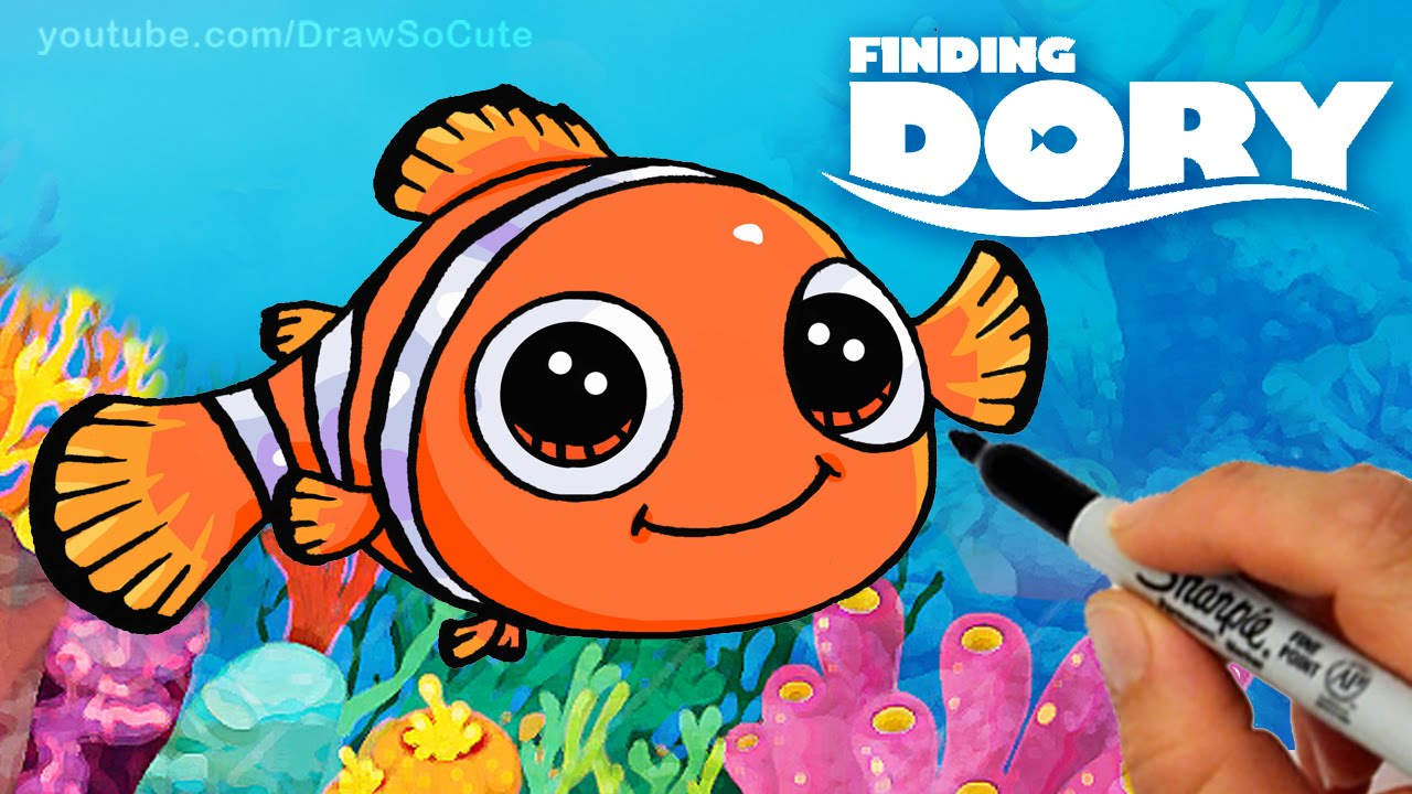 How To Draw Nemo Step By Step Cute Clown Fish Finding