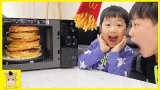 Kids eating Giant McDonald's Food! Johny Johny Yes Papa Song Nursery Rhymes Song for Children
