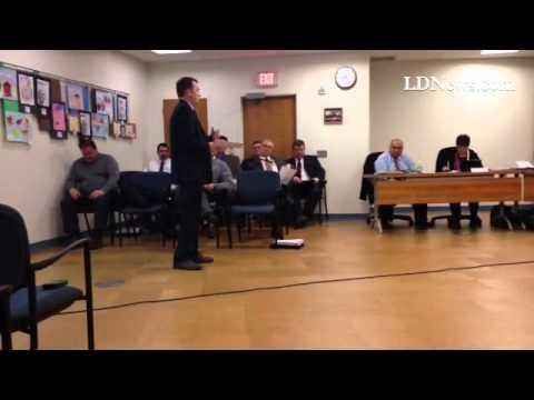 Steve Sherk of Steckbeck Engineering addresses Lebanon School Board about soil at Aspens Business Pa