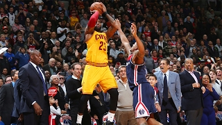 lebron james drains clutch 3 pointer to force ot after missing layup   cavs vs wizards highlights