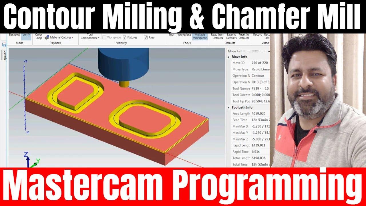 CNC Programming IN Mastercam: 2018 CONTOUR Milling Chamfer and Depth  Milling | Mastercam PROGRAMMING