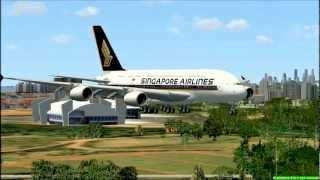 FSX Singapore Airlines Airbus A380 Incheon Airport Takeoff & Changi Airport Landing