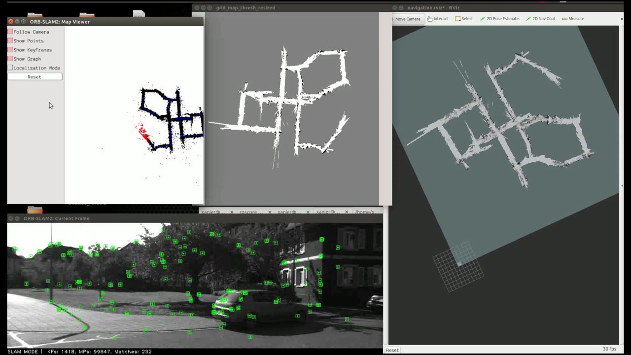2D grid mapping and navigation with ORB-SLAM 2- KITTI Dataset