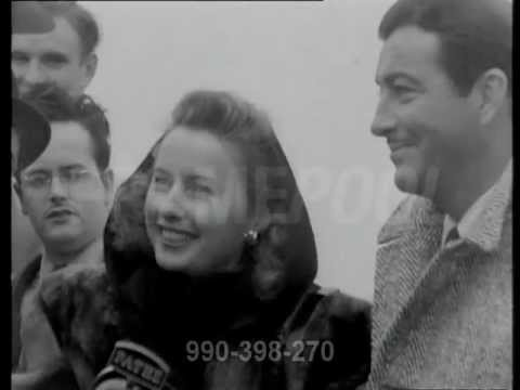 Barbara Stanwyck and Robert Taylor interview in England (1947)