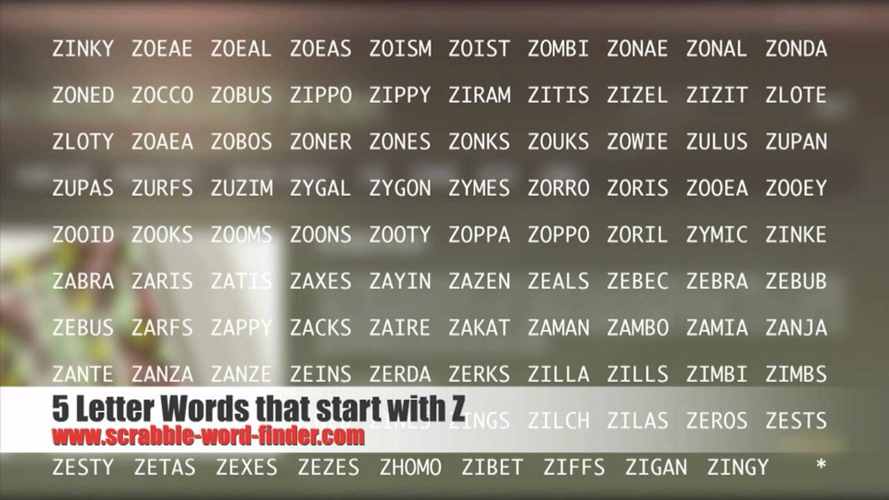5 letter words that start with Z   YouTube