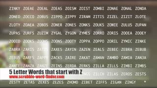 5 letter words that start with Z