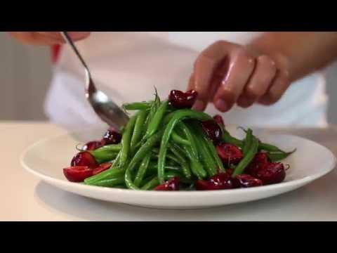 recette-:-salade-de-haricots-verts-et-cerises,-huile-d'olive-citron-&-gingembre