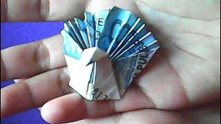 origami uang-cara membuat bentuk merak-money origami-how to make a peacock shape