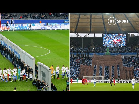 Hertha Berlin's special wall display for 30th year of Berlin Wall Fall celebration