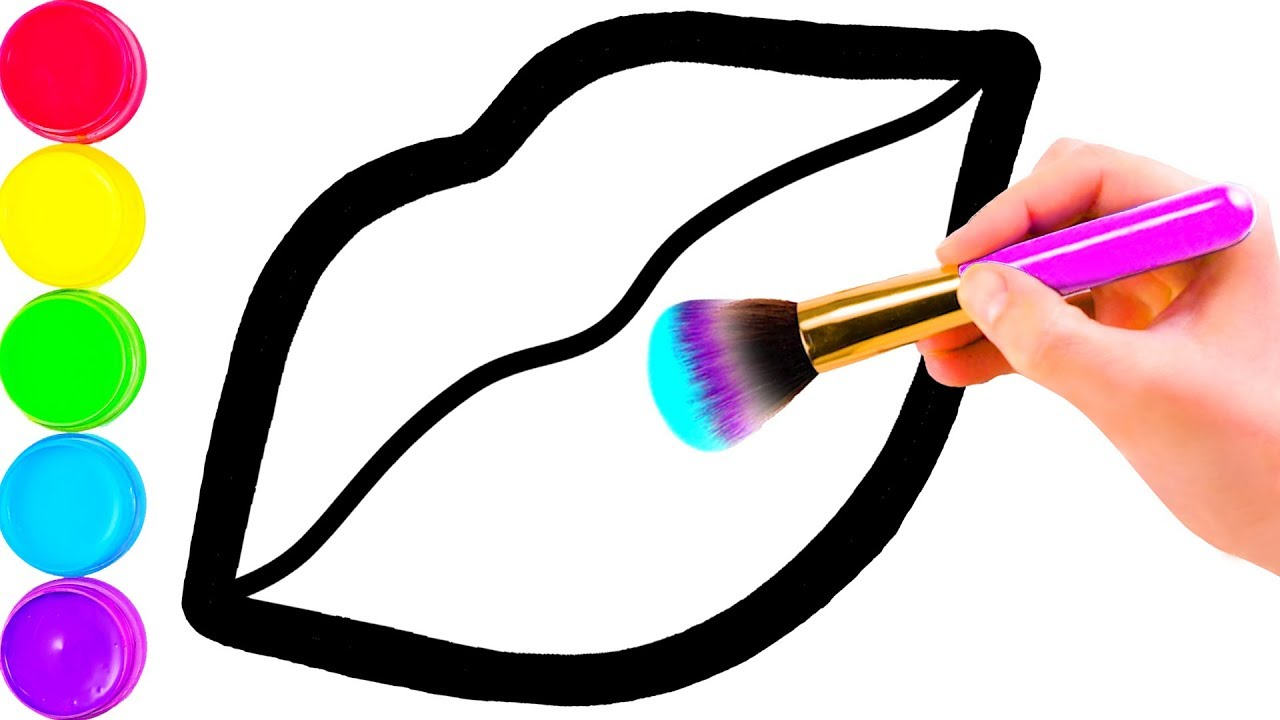 Download Glitter Toy Lips with Makeup Brush Set coloring and drawing for Kids, Toddlers Кис Кис