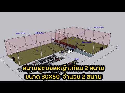 @หญ้าเทียม : สนามขนาด 30x50 เมตร  2 สนาม ใช้พื้นที่ 3 ไร่ เงินลงทุนทั้งโครงการประมาณ 5 ล้าน