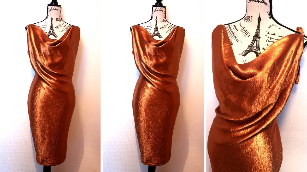 HOW TO MAKE A COWL NECKLINE SILK DRESS I HOLIDAY PARTY