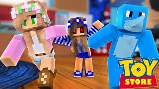 EVIL LITTLE CARLY IN A DIFFERENT DIMENSION !! Minecraft TOY STORE w/ Little Kelly and Sharky