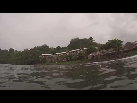 Tahiti, French Polynesia - Swimming at the Tahiti Pearl Beach Resort Black Sand Beach HD (2017)